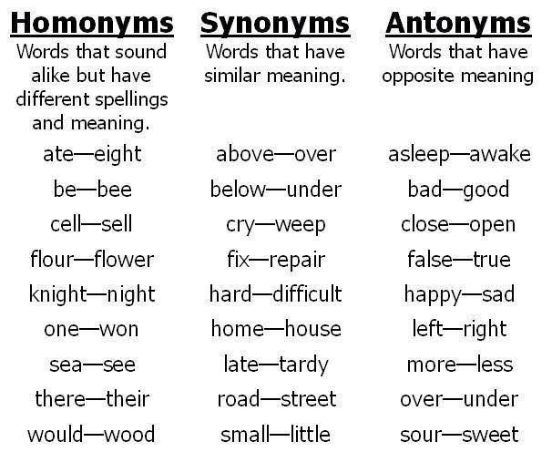Homonyms, Synonmys and Antonyms in English - English PDF Docs.
